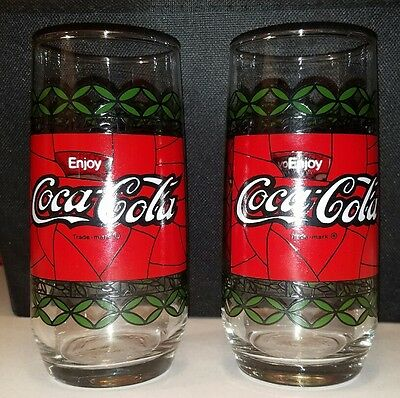 2 Vintage Tiffany Style Coca-Cola Drinking Glasses Stained Glass Like Green Red