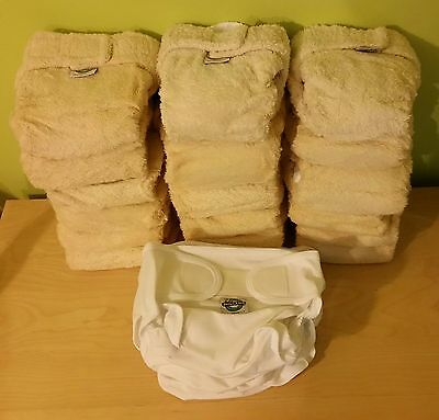 18 x Little Lamb organic cotton Nappies Size 2+liners,bosters+10 Wraps New