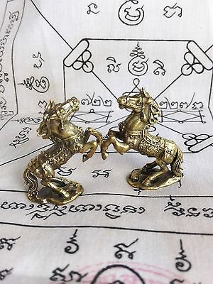 Powerful Horse Brass Wealth Lucky Hunting Money Magic Thai Amulet Talisman Gift