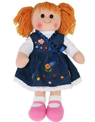 New Childs Toy Rag doll woollen hair soft body & outfit ragdoll dolly - Camile