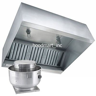 6ft Concession Trailer or Food Truck Grease Exhaust Vent Hood w/ Fan and Curb