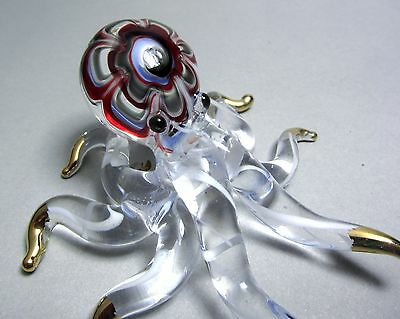 Exquisite Red blue OCTOPUS hand blown ART GLASS animal figurine GIFT collection