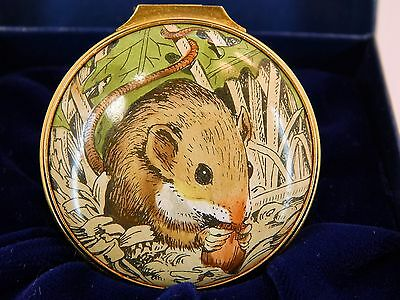 HALCYON HINGED TRINKET BOX - Field Mouse with Fall Nut - Green Box