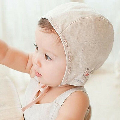 Cotton Baby Girl Caps Baby Bonnet Bird Embroidery Sleep Caps Lace up Kids Hat