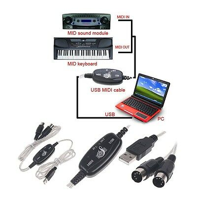 Hot USB IN-OUT MIDI Interface Cable Converter PC to Music Keyboard Adapter Cord