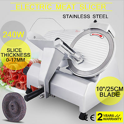"""NEW 250W 10"""" Kitchen Deli Meat Slicer Electric 530RPM Cheese Food Slice Machine"""