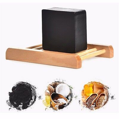 1Pcs Bamboo Charcoal Handmade Soap Blackhead Remover Oil Control Whitening Soap