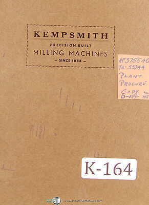 Kempsmith Type G (All-Geared) Milling, Operation and Maintenance Manual 1943