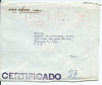 Lan-Chile Airlines Certificado Meter Mail Cover Cancelled Santiago 4.1.65 To Usa