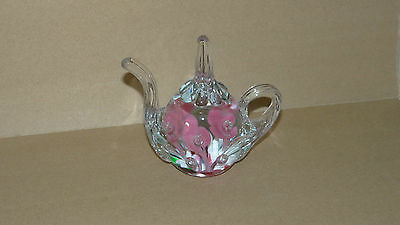 St Clair Paper Weight Glass Teapot Figure Paperweight Pink Floral Decor Display