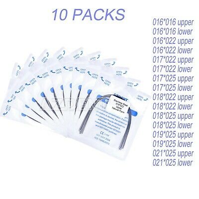10 X AZDENT Dental Orthodontics Stainless Steel Arch Wires Natural Form All Size