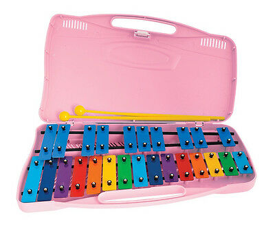 ANGEL Chromatic GLOCKENSPIEL 25 coloured metal bars, pink case, collapsible legs