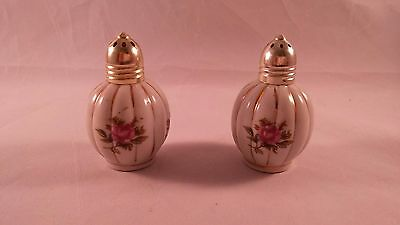Vintage Ceramic Rose Salt & Pepper Shakers with Gold Trim