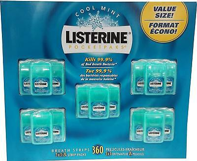 Listerine PocketPaks Breath Strips Oral Care Cool Mint 360 Strips in 5 Packs