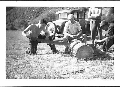 Vintage 1940 Camp 3 St Maries Idaho Forest Worker Crosscut Saw Log Old Car Photo