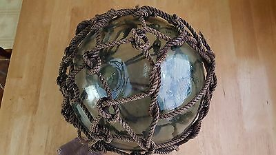 "Vintage Hand Blown Green Glass 11"" Japanese Marked Fishing Net Float"