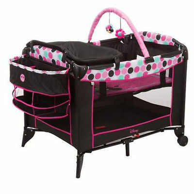 Disney Playard Minnie Mouse Baby Infant Bassinet Safety Play Yard w/CHANGER NEW