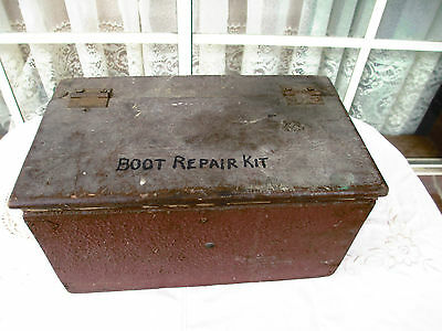 Vintage Wooden Boot Repair Kit Box With Tool Accessories