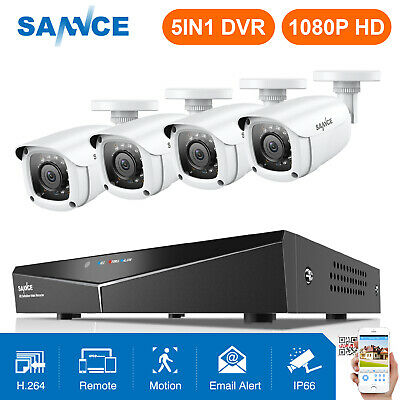 SANNCE 8CH 1080N 5in1 DVR 4 White 720P 1500TVL Outdoor IR Camera Security System