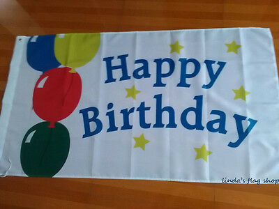 Happy Birthday Flag wholesale 3X5FT Balloon Banner Copper Grommets
