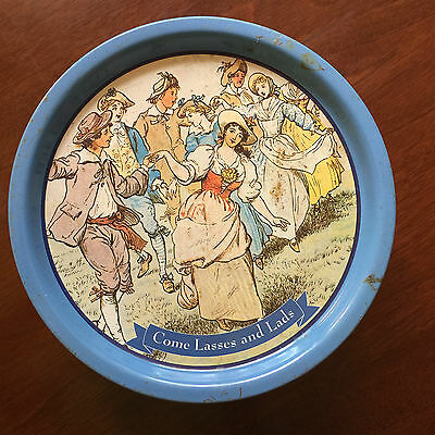 Vintage biscuit tin - blue with 'Come Lasses and Lads' design