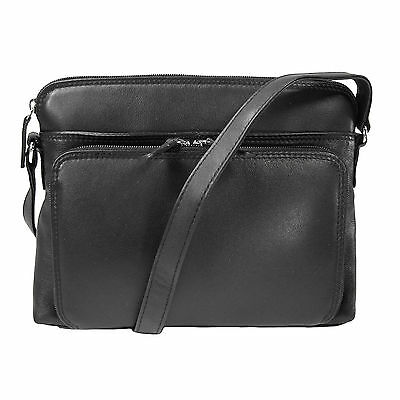 New CTM Women's Leather Shoulder Bag Purse with Side Organizer