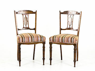 B-291 A Pair of 19th Century Scottish Inlaid Parlor Chairs 1880