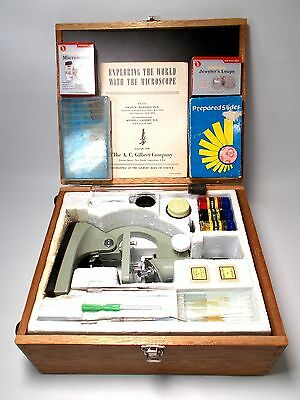 Microscope Kit/Wood Case/Extra slides/Tools Jewelers Loop/Micro20xLED Magnifier
