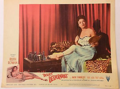 "Vintage 1959 RKO Desert Desperadoes Movie  Lobby Card Ruth Roman 14""X11"""