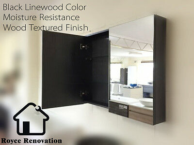 Black Linewood Color Timber Bathroom Shaving Mirror Cabinet With 2 Sizes
