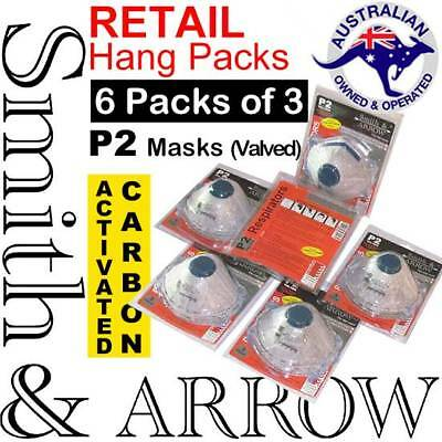 18x P2 CARBON FACE MASK SAFETY DISPOSABLE VALVE DUST PAINTING CUP (6 PACKS of 3)