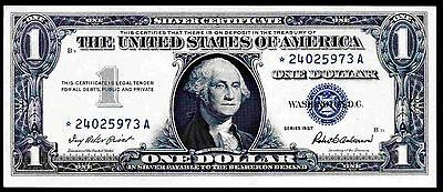 Silver Cert, One Dollar,  Replacement, *--------A, 1957, Almost Uncirculated.