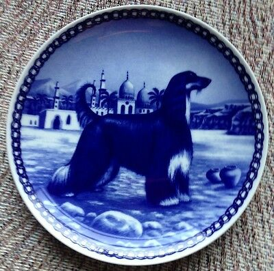 Vintage Denmark Afghan Hound Dog Blue Plate With Middle East Palace Scenery!