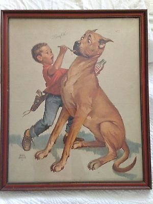 Vintage Art Featuring A Classic Great Dane Dog Reluctant To Take Medicine!
