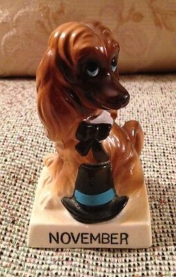 Vintage Japan November Afghan Hound Howdy Pilgrim CUTE Puppy Dog Of The Month!