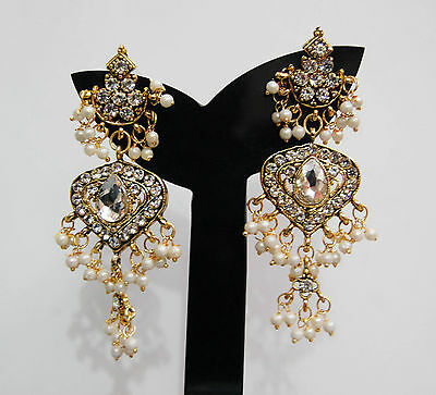 Indian Bridal Rani Haar Pearl Earrings Gold Costume Jewellery Free Shipping RHE