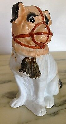 Vintage Germany Style Porcelain Sitting Pug Dog With Muzzle & Victorian Collar!