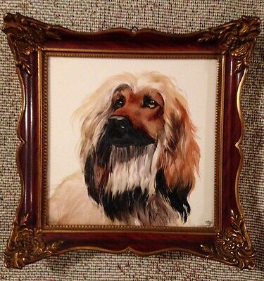 Vintage Framed Rosenthal Germany Tile Painting Of A Classic Afghan Hound Dog!