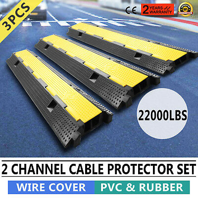 3pcs 2-Cable Rubber Electrical Wire Cover Heavy Duty Black Ramp Cord HIGH GRADE