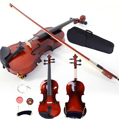 New 1/4 Solid Mape Wood Coffee Acoustic Violin Fiddle with Case Row Rosin Tuner