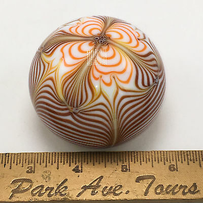 Smyers 1975 Northern Star Art Glass Paperweight Shiny With Orange & Browns