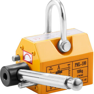 220Lbs Magnetic Lifter Magnet Hoist 100KG Steel Heavy Duty Stainless Lifting