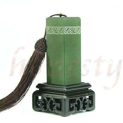 Green Frozen Jade Chinese Traditional Art Carving Seal Sculpture Name DIY Stone