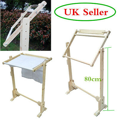 Cross Stitch Frame Tabletop Floor Stand Wooden Embroidery Tapestry Hoops Adjust