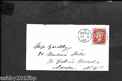 Somerset 1868 Cover -London Bath/53 Duplex. London Arrival Cds In Red.
