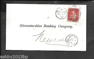 RAILWAY 1870 COVER TO NEWENT 1d RED PLATE 125 NEWHAM/558 DUPLEX.GLOSTER STATION