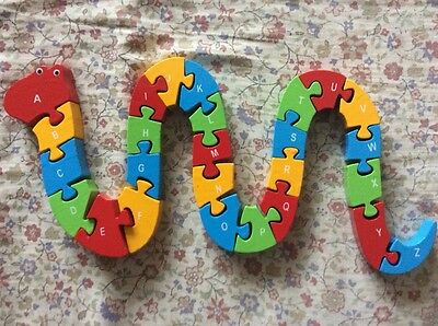 Wooden Snake ABC & Number Puzzle