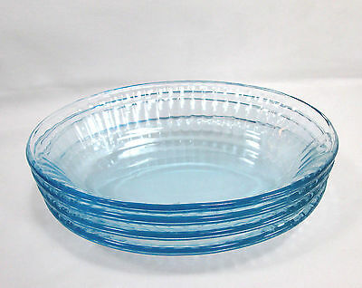 "4 Vintage Colorex Ice Blue 8 1/4"" Oval Bowls Salad Dessert Brazil"