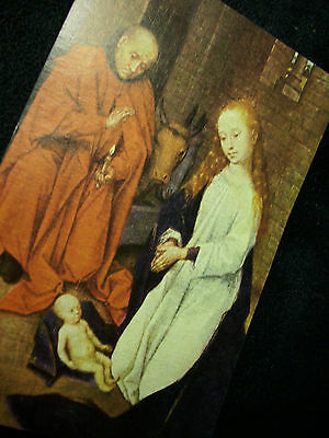 Vintage  Prayer Card Of Medieval Nativity Painting With Greetings On The Reverse