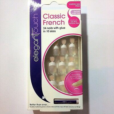 Elegant Touch Unghie Finte Mani Classic French American Pink Short 24Nails 10Siz